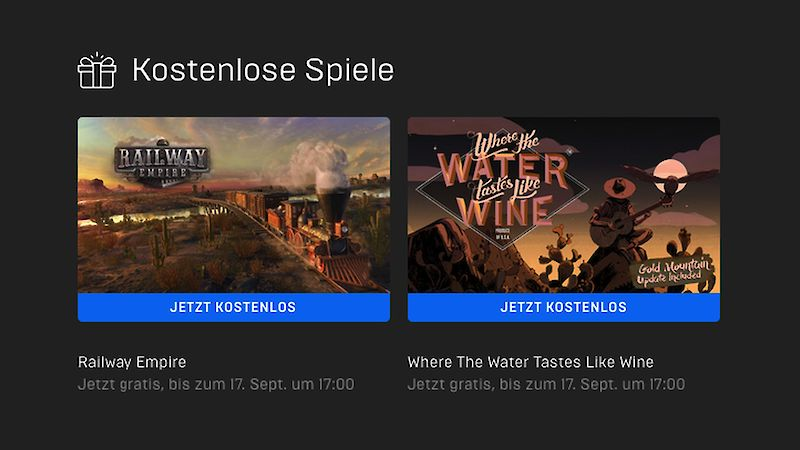 Railway Empire und Where The Water Tastes Like Wine kostenlos bei Epic Games