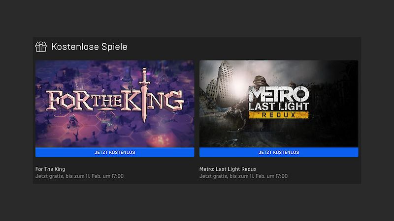 For the King und Metro Last Light aktuell kostenlos im Epic Games Store